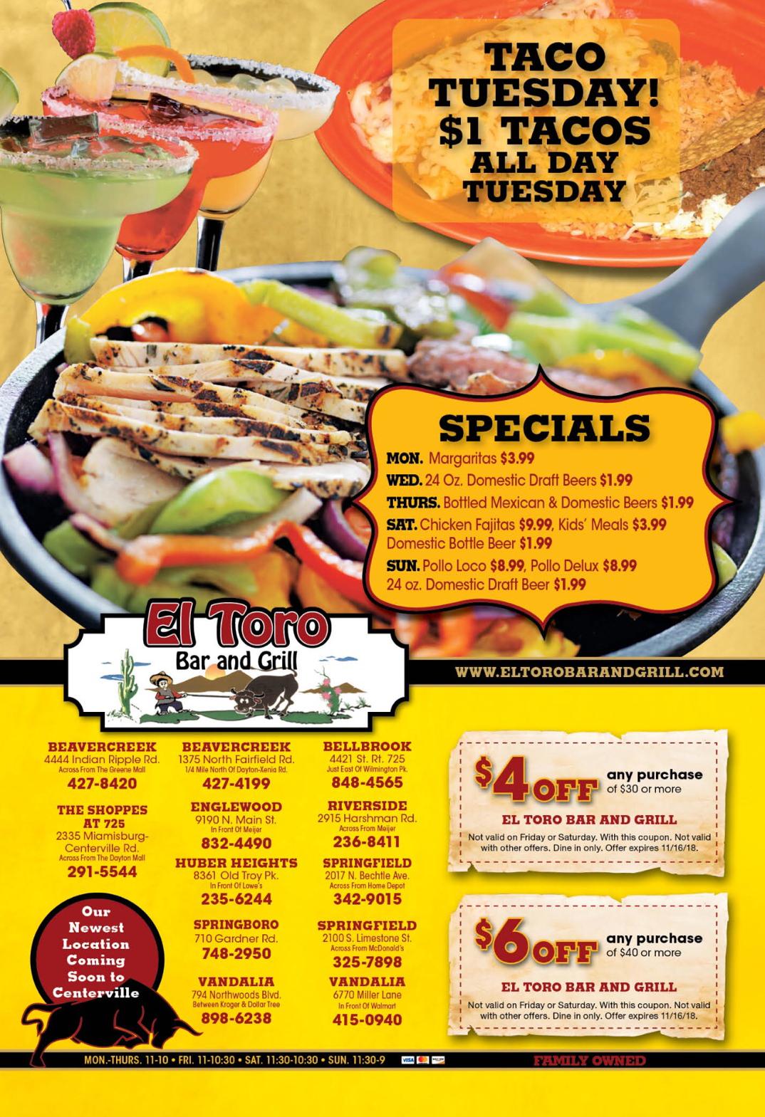 Our Specials | El Toro Mexican Bar & Grill